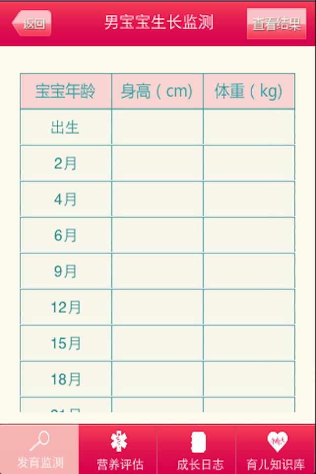 1,提供宝宝从0岁到10岁的身高,体重记录.
